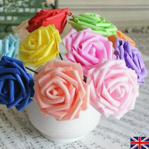 50PCS Fake Artificial Flowers Foam Roses stem Wedding Bride Bouquet Party Decor