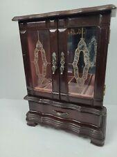 Old Wooden Cabinet Jewelry Box Double Door Glass Mirror bottom Drawer organizer