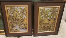 2 ANEK ASIAN PAINTED CARVINGS ON BOARD, ROSEWOOD FRAME