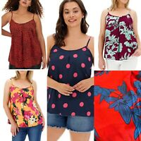 Capsule Cami Vest Top Size 12,16,22 & 28 Floral Spot Heart Print Red Black GB93