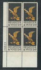 Scott  #1344... 6 Cent...Register & Vote ...25 Plate Blocks...100 Stamps