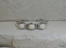 STERLING SILVER SAJEN IVORY COLORED AGATE CUFF BRACELET SIGNED