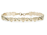 "7.25"" Diamond Cut Hearts and Kisses Stampato Bracelet Real 10K All Yellow Gold"