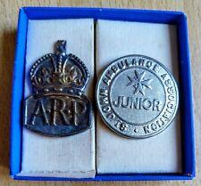 More details for apr world war 2 & st johns ambulance vintage bagdes (2) original pair ww2 ww11