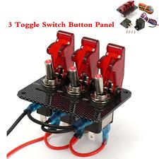 Car Engine Start Ignition 3 Toggle Switch Panel Carbon Fiber W/Red LED Light 12V
