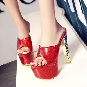 Women Super High Heel Stilettos Sandals Platform Open Toe Slippers Shoes Slip on