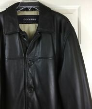 Dockers Men's Cow Leather Insulated Jacket 3/4 Length Heavy Black Coat Size M