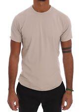 NEW $110 DANIELE ALESSANDRINI T-shirt Beige Cotton Stretch Crew-neck Mens s. L