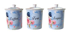 Fine Bone China Blue Wren Coffee Tea Sugar Canisters Australian Bird Series 17cm