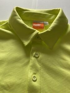 Puma Men's Sport Lifestyle Cool Cell Performance Golf Polo Shirt Yellow Size L