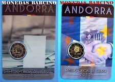 2015 COIN CARD, LOT. 2 COINS 2 EURO COMMEMORATIVE Andorra Andorre андорра
