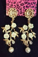 Betsey Johnson Women Fashion Green Crystal Pearl Flower Ear Stud Dangle Earrings