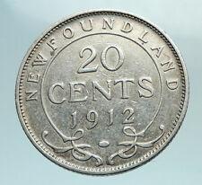 1912 CANADA UK King George V Newfoundland Antique SILVER 20 CENTS Coin i79577