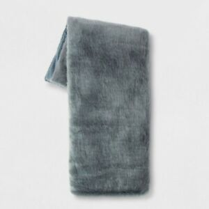 "Threshold Faux Fur Throw Blanket Light Blue 60"" x 50"" Polyester Blend BSOFT1"