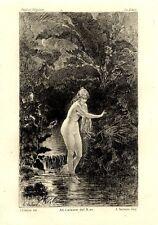 Paul et virginie Le Bain Maurice Eau forte originale Adolphe Lalauze 1836