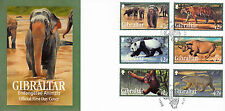 Gibraltar 2011 FDC Endangered Animals I 6v Set Cover Elephant Tiger Panda Rhino