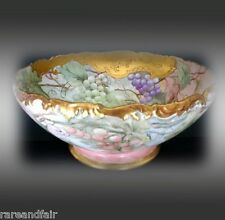 T & V Limoges LARGE vintage footed unique punchbowl - FREE SHIPPING