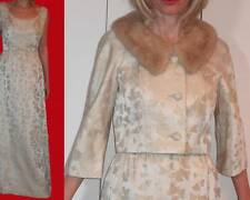 50s BULLOCKS WILSHIRE WYNSHIRE IVORY BROCADE LONG DRESS MINK COLLAR JACKET XS 2