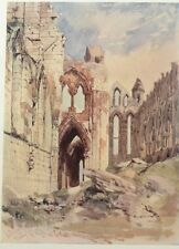 Interior of Whitby Abbey by William Callow. Color Plate. The Studio, 1916.