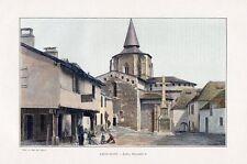 65 SAINT SAVIN PLACE DE L EGLISE IMAGE COULEUR 1903 PRINT