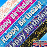 HAPPY BIRTHDAY BANNERS HOLOGRAPHIC STREAMERS 9FT LONG PARTY BANNER
