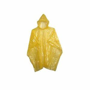 Adulte Poncho Pluie Jaune Imperméable Plastique Jetable Chapeau Hood Femmes Mens