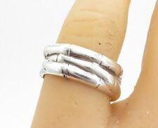 EVERETT 925 Silver - Vintage Shiny Bamboo Interlaced Band Ring Sz 7 - R17790