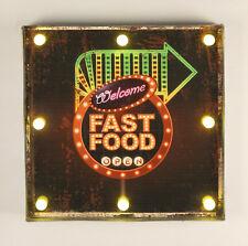 Leuchtschild 237681 FAST FOOD Wandschild LED Schild aus Metall 40 cm Display