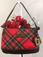 DOONEY & BOURKE Red Plaid Canvas Small Pouchette Bag