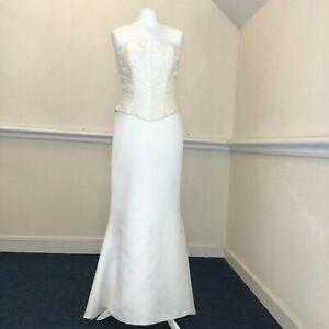 Amanda Wyatt Size 10 Ladies White Skirt Ivory Bodice Two Piece Wedding Dress