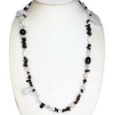 CRUSHED CRYSTAL ONYX GEMS 925 STERLING SILVER LONG necklace