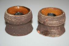 VTG Lars Bergsten Sweden Art Pottery Candle Holders GC