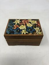 Vintage Wooden Thorens Music Box With Floral Design