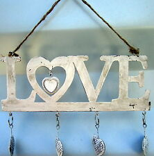 """25 X 15CM WALL OR DOOR RUSTIC HANGING METAL """"LOVE"""" SIGN WITH HEARTS BRAND NEW"""