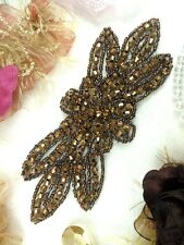 "JB162 Bronze Beaded Flower Applique Floral Iron On 6"" (JB162-bz)"