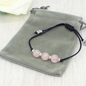 Adjustable Handmade Natural Rose Quartz Crystal Healing Gemstone Cord Bracelet.