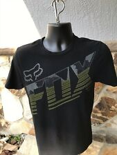 Fox Racing Tee Shirt - Small, Black With Light Gray And Green Graphics