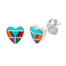 Sterling Silver Heart Shaped Multi-Color Gemstone Earrings 7mm