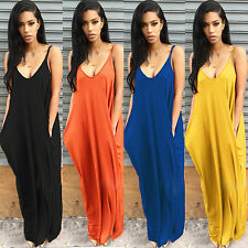 Women Summer Strappy Maxi Dress Pocket Long Beach Casual Sundress Plus Size UK