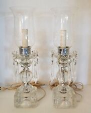 Pr 1940s Etched Crystal Glass Prism LustersTable Lamps Hurricane Chimney Electri