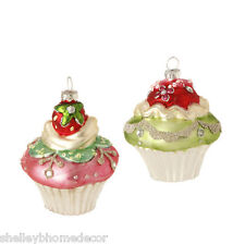 Cupcake Glass Christmas Ornament  candy color set 2 sp 3420024 NEW RAZ