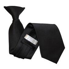 DQT Satin Plain Solid Black Waiter Security Funeral Clip on Tie