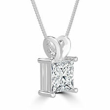 3/4 CT PRINCESS ENHANCED MOTHER'S DAY DIAMOND PENDANT D/VS2 14K WHITE GOLD