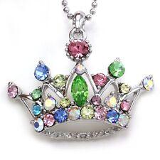 Crown Princess Tiara Heart Necklace Multicolor Crystal Silver Tone Kid Pendant D