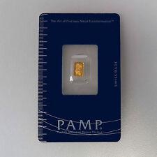 999 Oro Barretta d'oro Fortuna Pamp Svizzera Blister con Certificato 0,3 Grammi