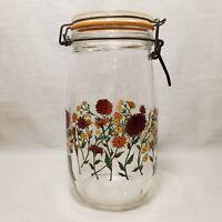 Vintage Canister Jar Glass Arc Flowers Red Orange Yellow France 1.5L R Carman