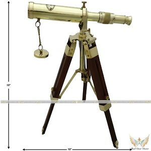 Marine Navy Nautical Brass Barrel Telescope With Adjustable Floor Tripod Stand