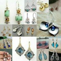 925 Silver Ruby Sapphire Amber Earrings Moonstone Turquoise Ear Hook Drop Dangle