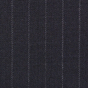 Holland and Sherry Navy Blue Narrow Chalk Stripe All Wool Suiting - 3.50 Mtrs
