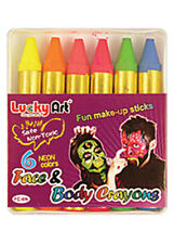 Neon Make-Up Crayon Sticks Pk6